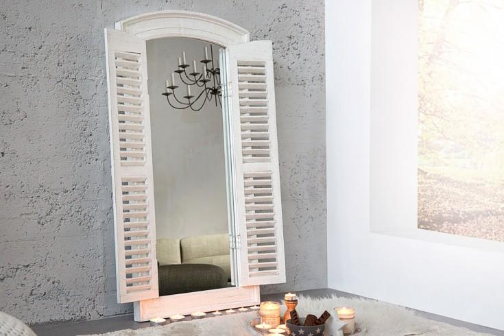 Romantischer Spiegel VIEW grau vintage weiß 120 cm mit Fensterläden im Shabby Look