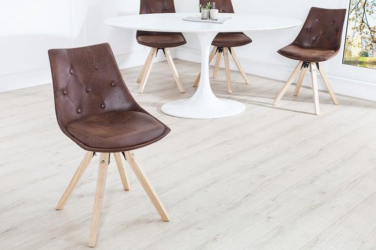 Exklusiver Design Stuhl VERY BRITISH im edlen Antikbraun mit aufwendiger Chesterfield Steppung