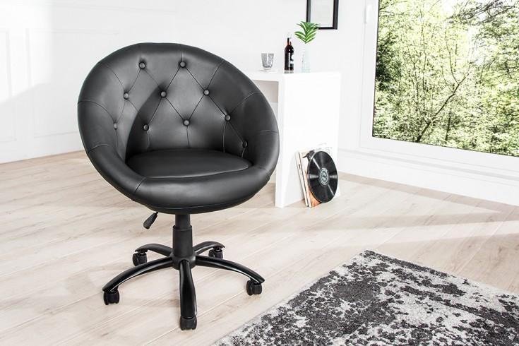 Design Bürosessel COUTURE schwarz mit Rollen höhenverstellbar im Loungedesign