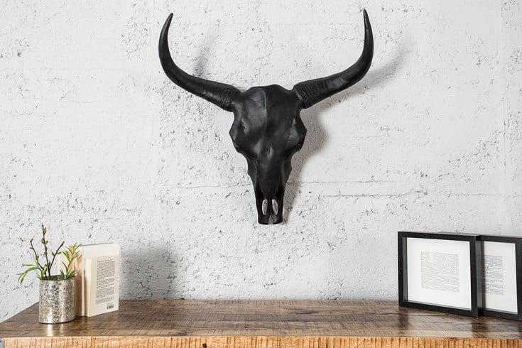 Eindrucksvoller Longhorn Skull EL TORO 65cm schwarz Büffelschädel Deko Geweih Wanddeko