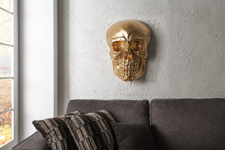 exklusive totenkopf wandskulptur skull xxl 40cm gold deko sch del totensch del riess. Black Bedroom Furniture Sets. Home Design Ideas
