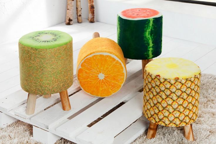 Stylischer Sitzhocker FRUITS 45 cm gelb gepolstert Ananas-Optik mit Holzbeinen