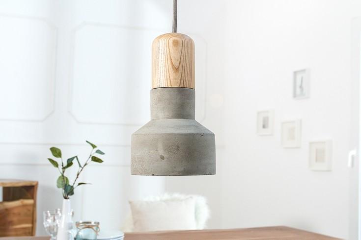 Moderne Hängeleuchte CEMENT FUSION grau Betonlampe mit Pinie Textilkabel