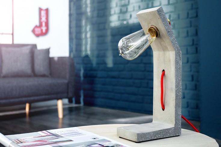 Stylische Betonlampe CEMENT STRUCTURE grau 30 cm mit Textilkabel