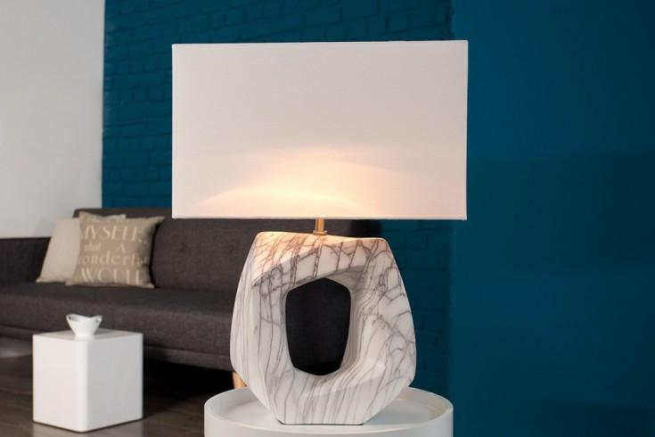 Kunstvolle Tischleuchte FLORENCE Leinen Hell 60 cm mit Keramikgestell