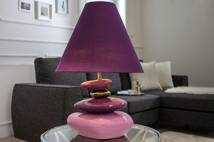 Imposante Tischlampe STONES OF ECSTASY violett gold 60 cm