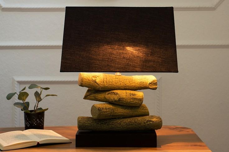 Design Tischleuchte TERRA 50 cm schwarz Tischlampe mit Leinenschirm