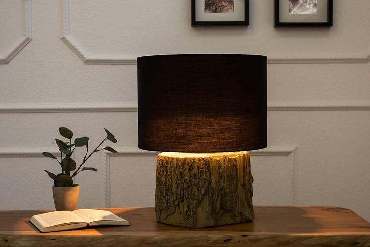 Design Tischleuchte TARA 40 cm schwarz Tischlampe mit Leinenschirm