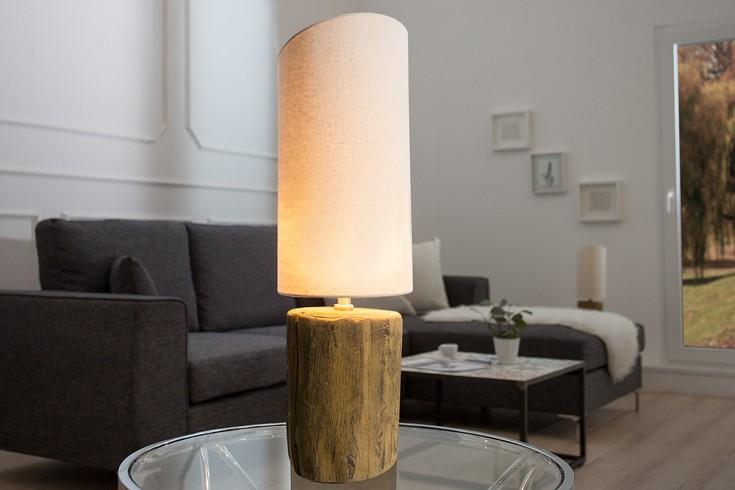 Design Tischleuchte YUKA I Leinen hell 50 cm Tischlampe mit Leinenschirm