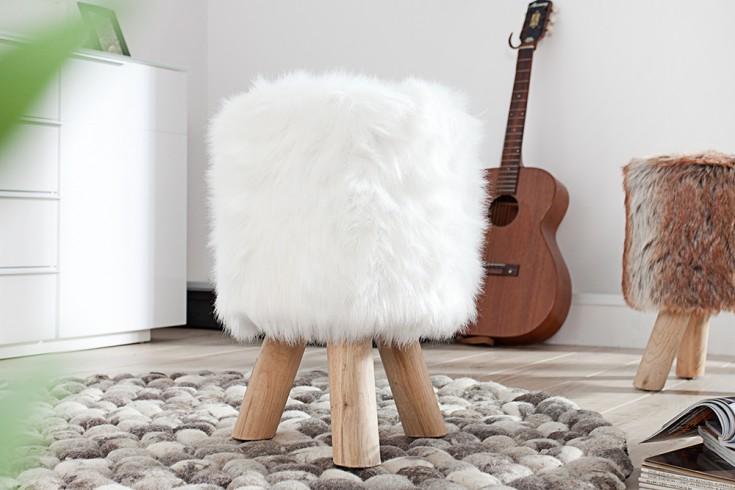 Design Fellhocker SIT weiß Sitzhocker mit Fell