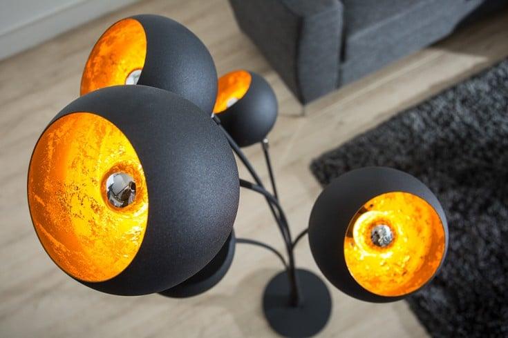 Elegante Design Stehlampe MAGMA 170cm schwarz gold Stehleuchte