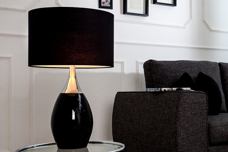 Moderne Tischlampe CARLA 60cm schwarz silber mit Leinenschirm