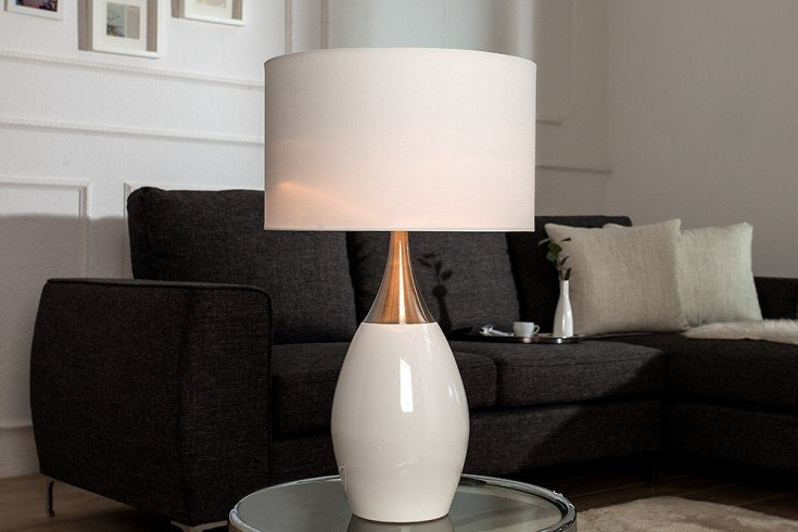Elegante Tischlampe CARLA weiß 60cm