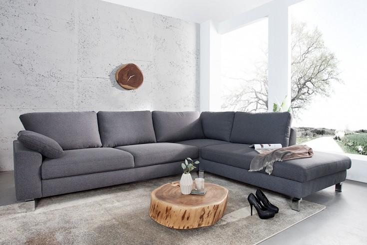 Design Ecksofa INTERMEZZO 275cm dunkelgrau Strukturstoff Chromfuß inkl. Armlehnenkissen und Schlaffunktion Original CANDY Lifestyle