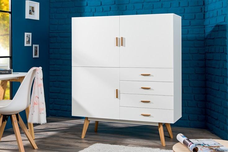 design highboard scandinavia meisterst ck 140cm wei echt eiche riess. Black Bedroom Furniture Sets. Home Design Ideas
