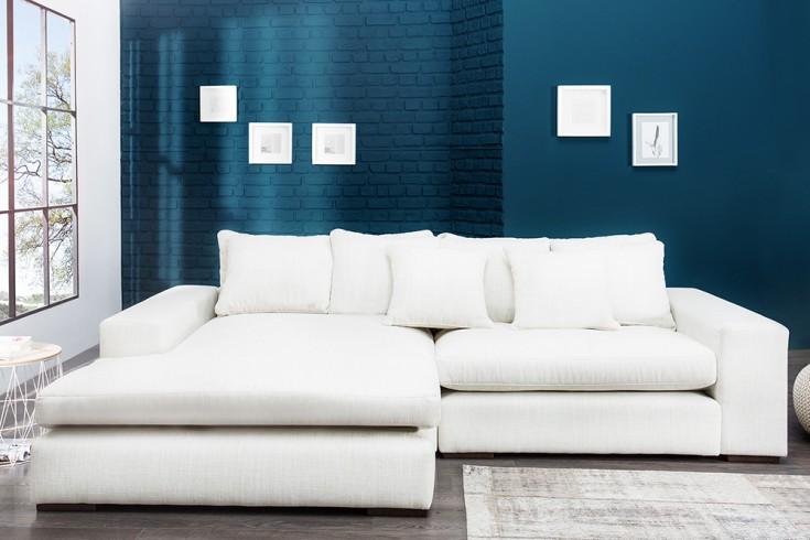 Komfortables Ecksofa MINO im modernen Landhausstil Leinen hell 275 x175 cm  inkl. Kissen
