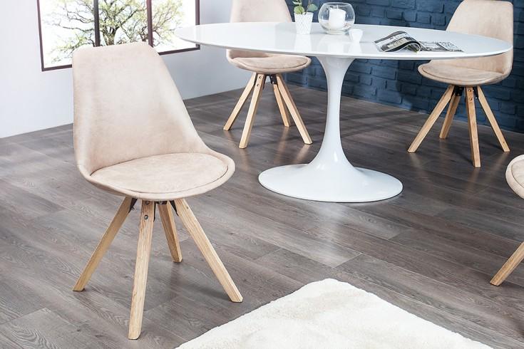 Stuhl SCANDINAVIA MEISTERSTÜCK Massivholzbeine antik beige im Retro Trend