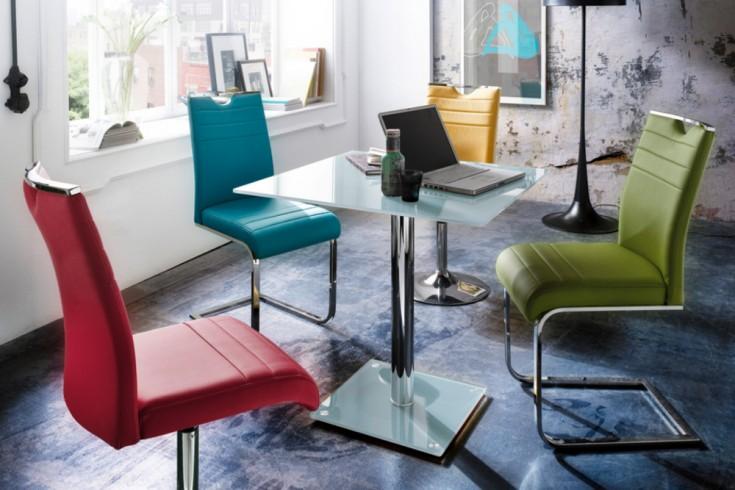 Exklusiver Esstisch Bistrotisch FLUID eckig 80 x 80cm Opalglas weiß Chrom Säulentisch