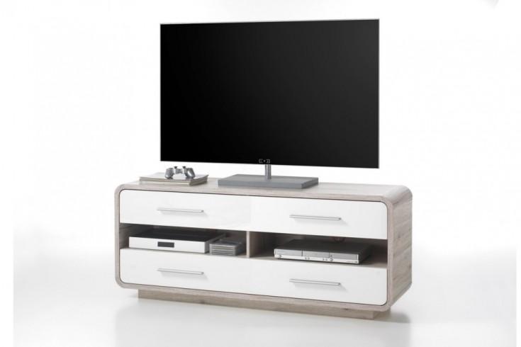 Modernes Design Lowboard BALTIMORE 145cm Hochglanzfront weiss abgesetzt Sandeiche TV-Board