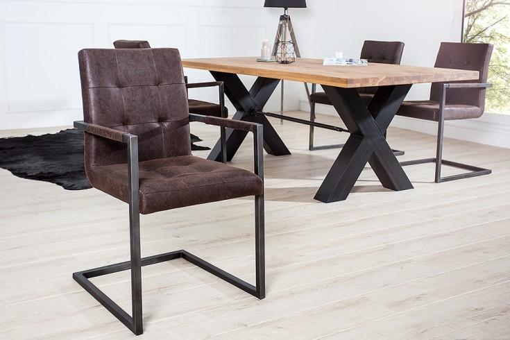 freischwinger rodeo echtleder braun riess. Black Bedroom Furniture Sets. Home Design Ideas