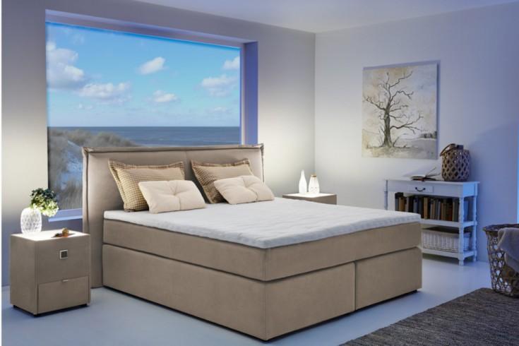 klassisches boxspringbett maison belle affaire 180 x 200 cm beige inkl matratze und topper. Black Bedroom Furniture Sets. Home Design Ideas