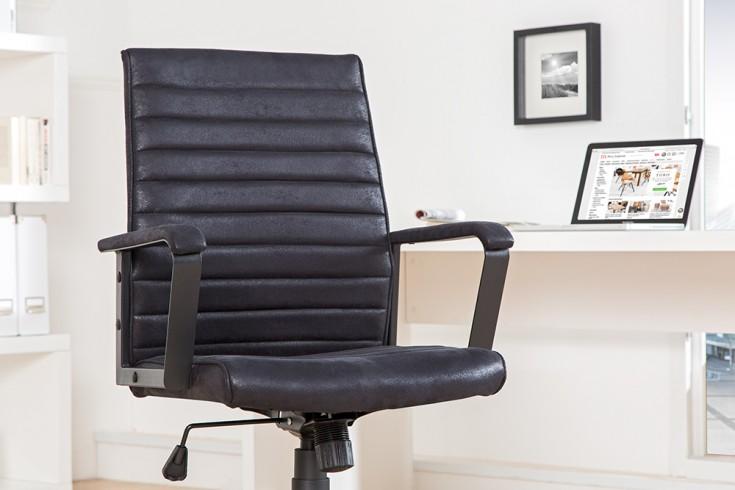 Moderner Design Bürostuhl LAZIO Microfaser schwarz Chefsessel mit Armlehnen