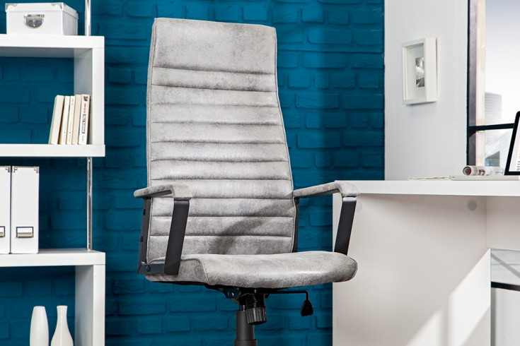 Moderner Design Bürostuhl LAZIO Highback Microfaser vintage grau Chefsessel mit Armlehnen