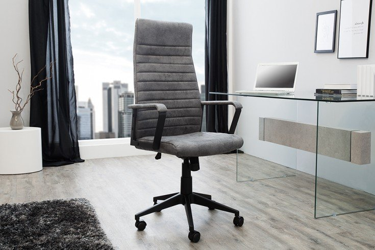 Moderner Design Bürostuhl LAZIO Highback vintage grau Chefsessel mit Armlehnen