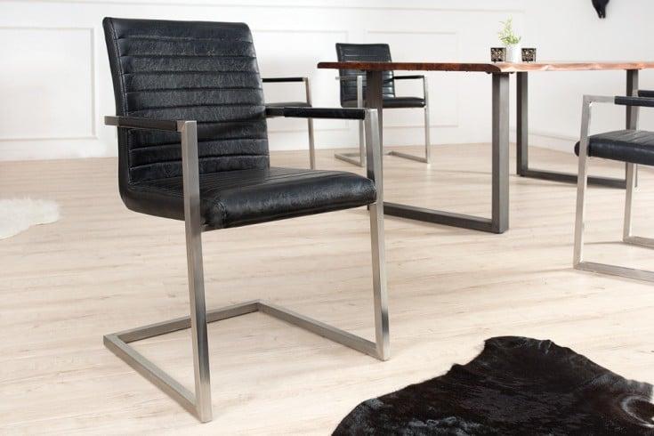 Freischwinger Stuhl IMPERIAL antik schwarz mit gepolsterten Armlehnen und Edelstahlgestell