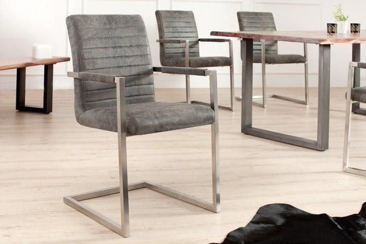 Industrial Freischwinger Stuhl LOFT vintage grau mit Armlehne Edelstahlgestell
