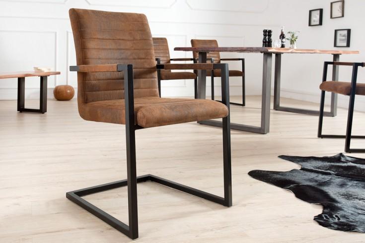 Industrial Freischwinger Stuhl LOFT vintage braun mit Armlehne Eisengestell
