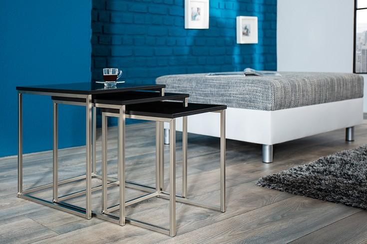 Design Beistelltisch 3er Set FUSION matt schwarz Edelstahl gebürstet