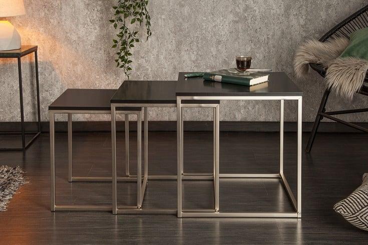 Design Beistelltisch 3er Set ELEMENTS 40cm matt schwarz Edelstahl gebürstet