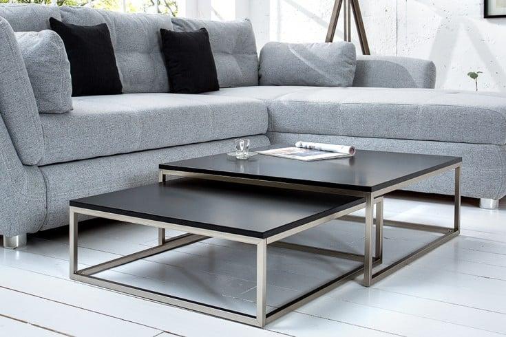 Design Couchtisch 2er Set BIG FUSION matt schwarz Edelstahl gebürstet