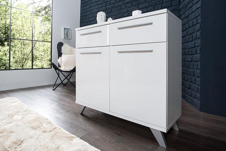 Moderne Design Kommode KOPENHAGEN 90cm weiss Hochglanzfront Retro-Look