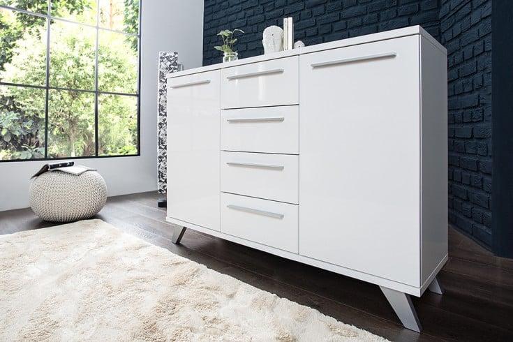 Moderne Design Sideboard KOPENHAGEN 120 cm weiss Hochglanzfront Retro - Look