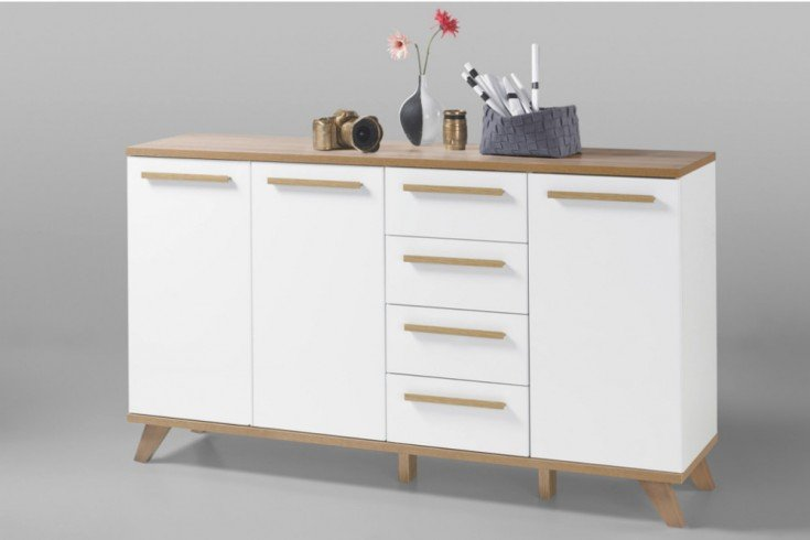 moderne design sideboard vancouver 160cm wei abgesetzte. Black Bedroom Furniture Sets. Home Design Ideas