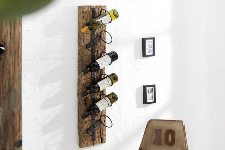 Massives Wand Weinregal BARRACUDA antik Teak Holz 100cm Flaschenhalter natur