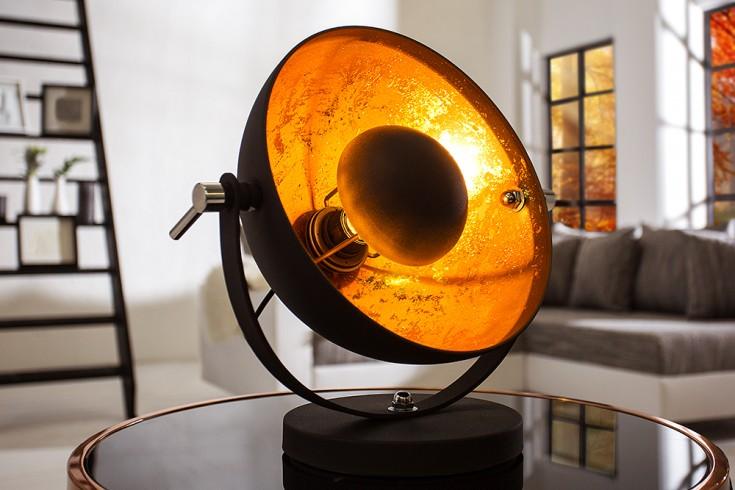 Elegante Tischlampe STUDIO 40cm schwarz Blattgold-Optik neigbarer Schirm