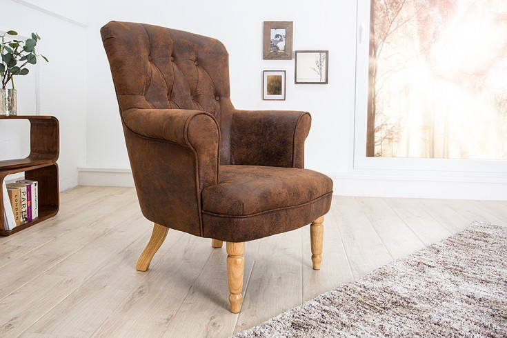 Design Sessel CONTESSA im Chesterfield Design vintage coffee