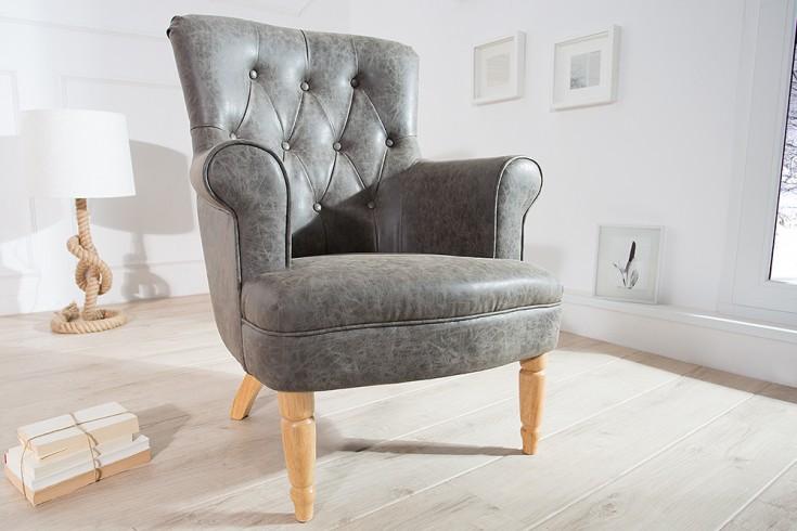 Design Sessel CONTESSA im Chesterfield Design antik grau