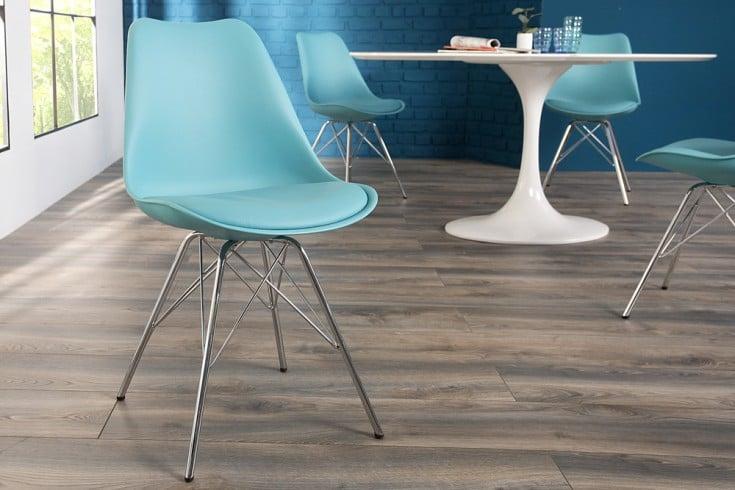 Retro Designklassiker Stuhl SCANDINAVIA MEISTERSTÜCK türkis mit hochwertig verchromten Stuhlgestell
