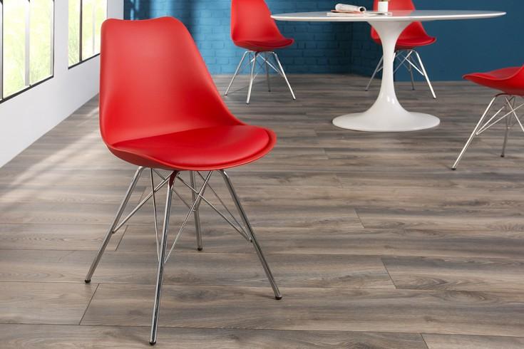 Retro Designklassiker Stuhl SCANDINAVIA MEISTERSTÜCK rot mit hochwertig verchromten Stuhlgestell