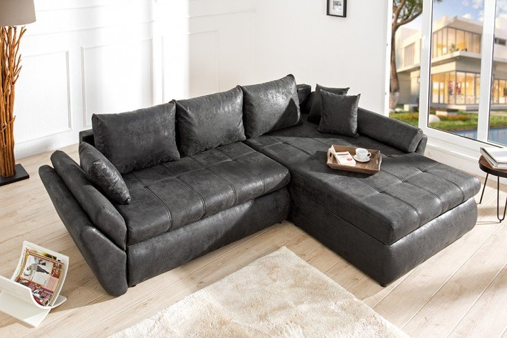 ecksofa rodeo grau schlaffunktion riess. Black Bedroom Furniture Sets. Home Design Ideas