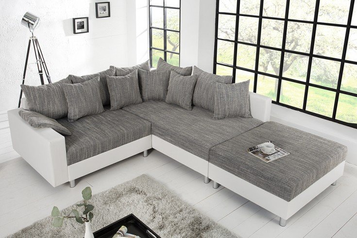 design ecksofa mit hocker loft wei strukturstoff grau federkern sofa ot beidseitig aufbaubar. Black Bedroom Furniture Sets. Home Design Ideas