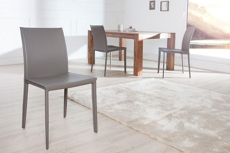 Exklusiver Design Stuhl Milano ECHT LEDER grau