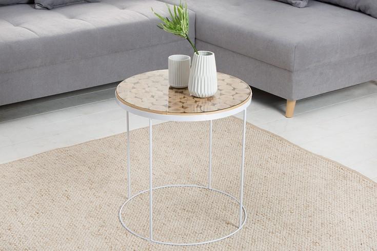 Design Beistelltisch PURE NATURE MIX 50cm Massivholz weißes Metallgestell mit Glasplatte