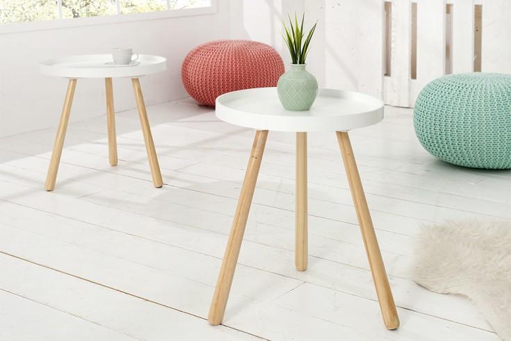 design retro beistelltisch scandinavia edelmatt wei runde tischplatte 35 cm riess. Black Bedroom Furniture Sets. Home Design Ideas