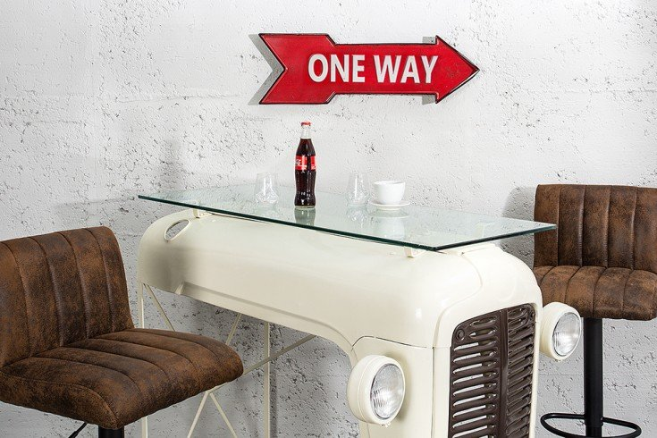 Stylisches Metall Schild ONE WAY 55 cm rot rechts Retro-Look