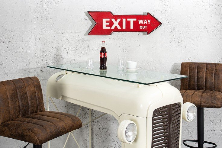 Stylisches Metall Schild EXIT WAY OUT 55 cm rot rechts Retro-Look